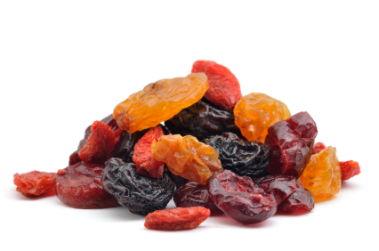 A pile of multicolored raisins.